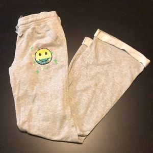 Gray Drawstring Sweatpants with Smiley Face